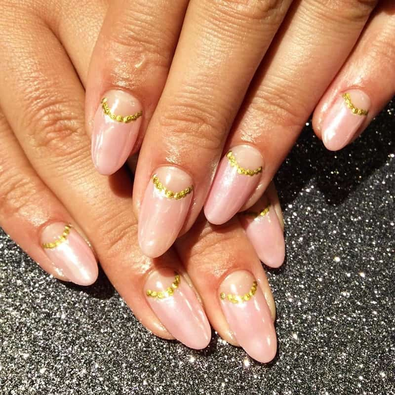 half moon reverse french manicure