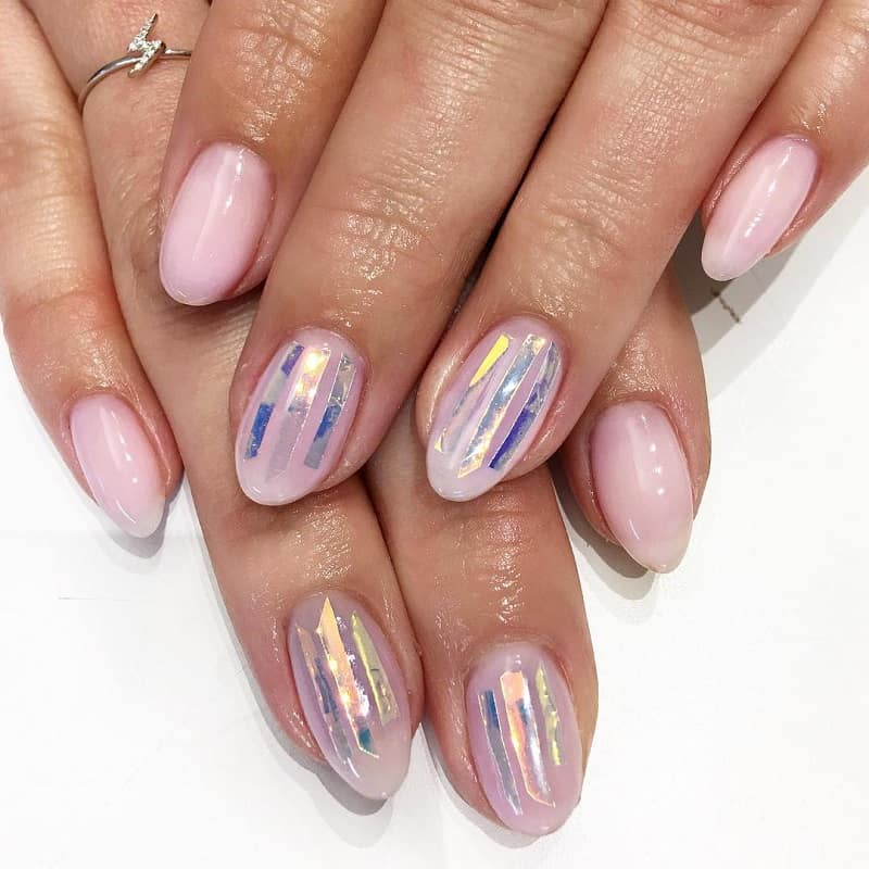 shattered glass pink nail