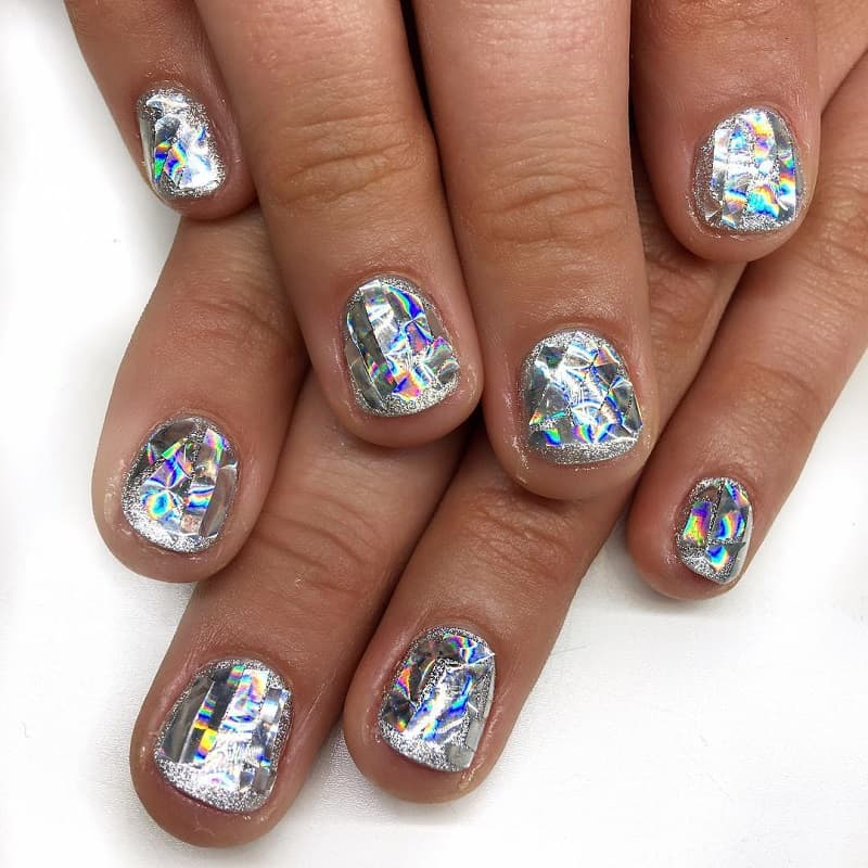 holographic shattered glass nail art