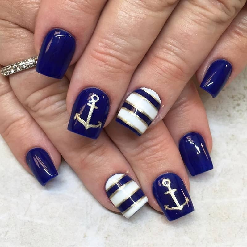 nautical gel nail design
