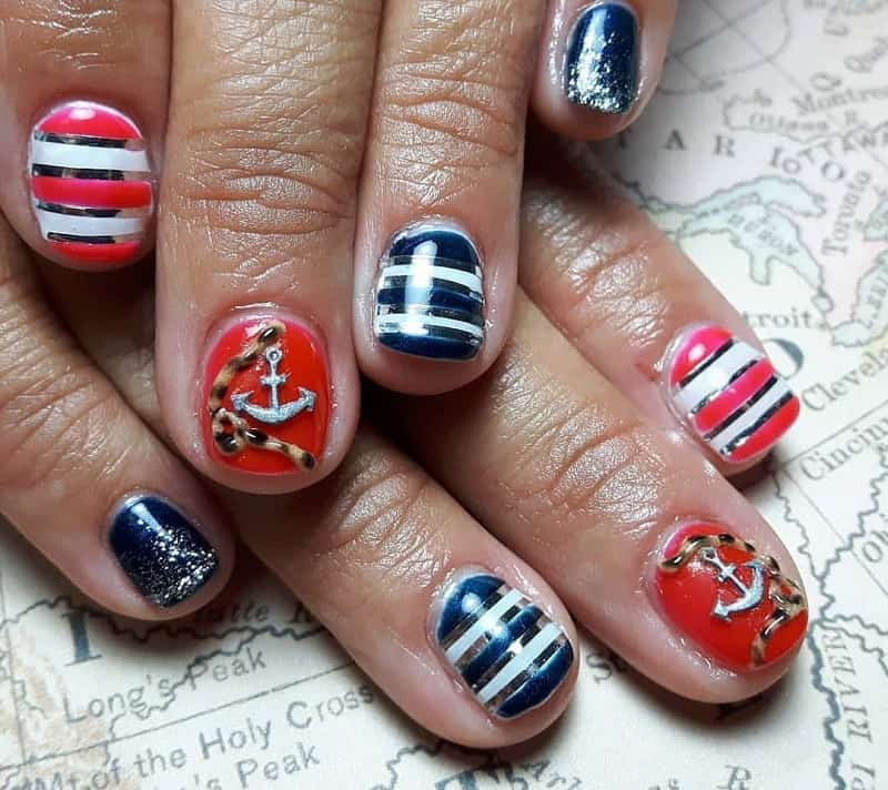 nautical 3d nail design