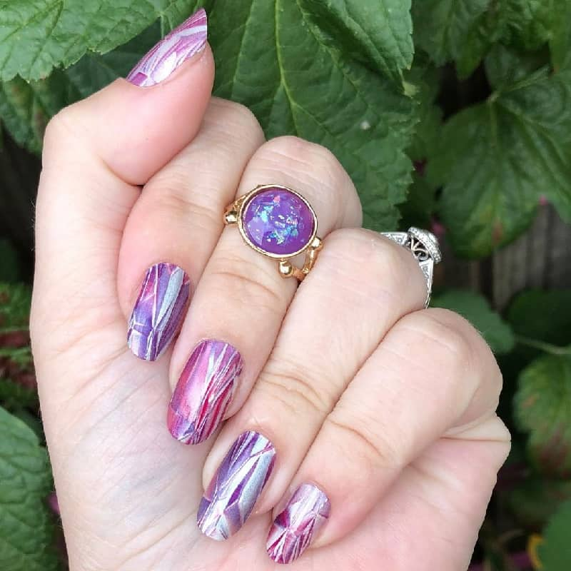 shattered glass purple nails