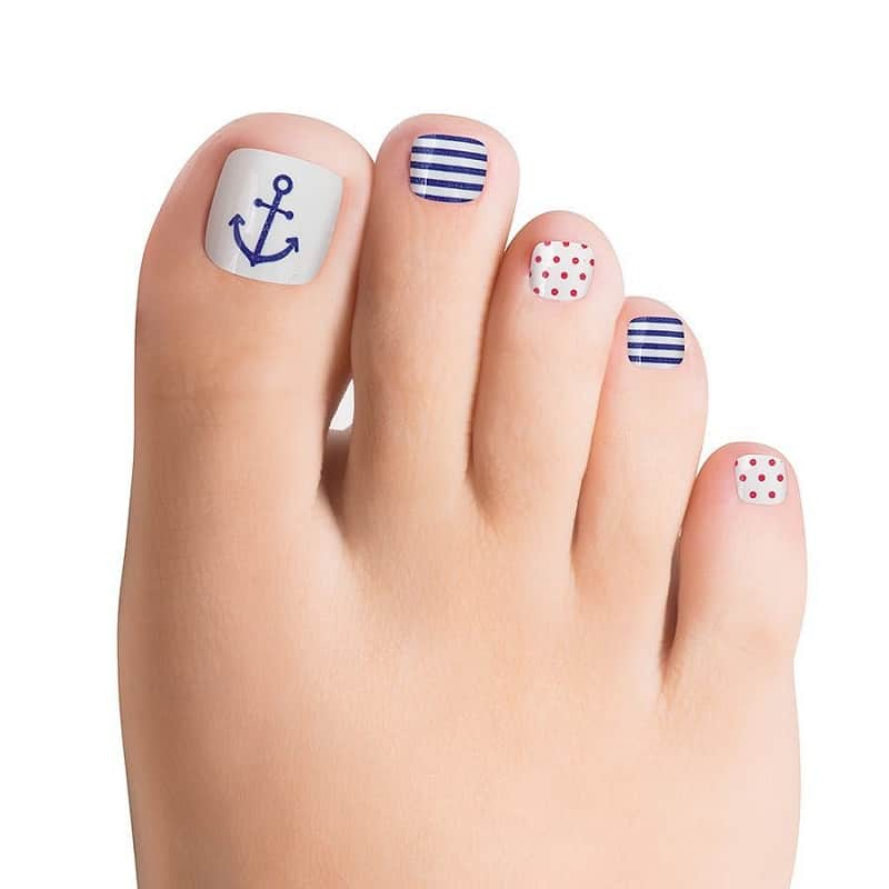 nautical toe nail designs