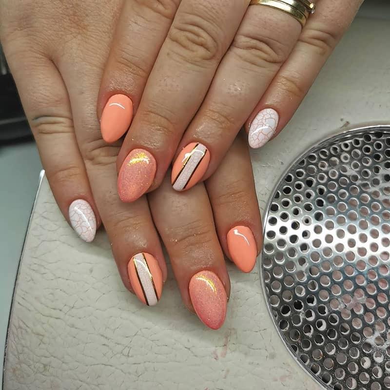 peach acrylic nails