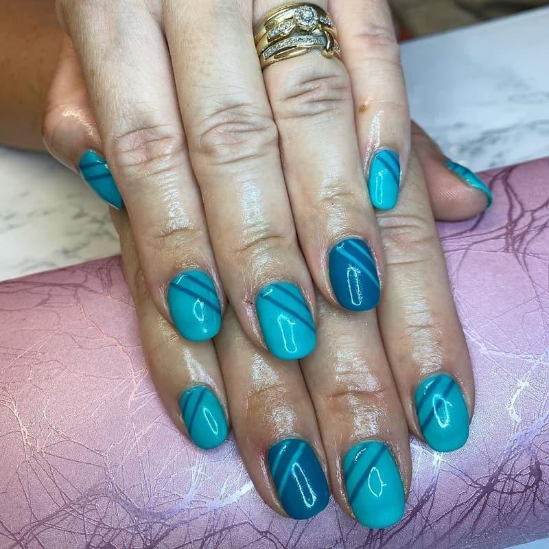 teal gel nail designs