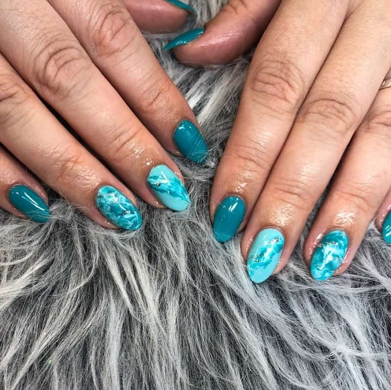 teal marble nails