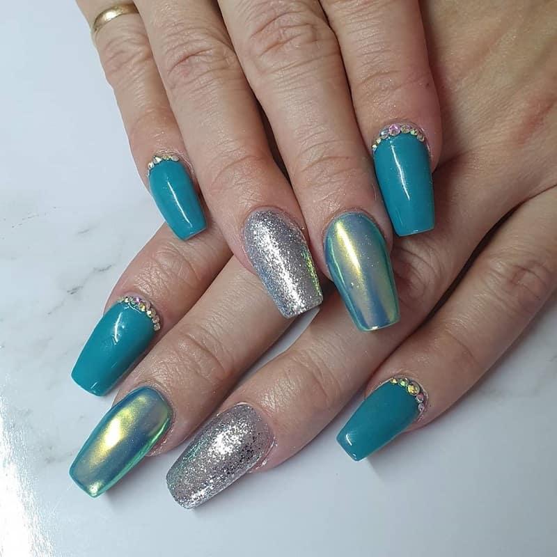 fall teal nail designs