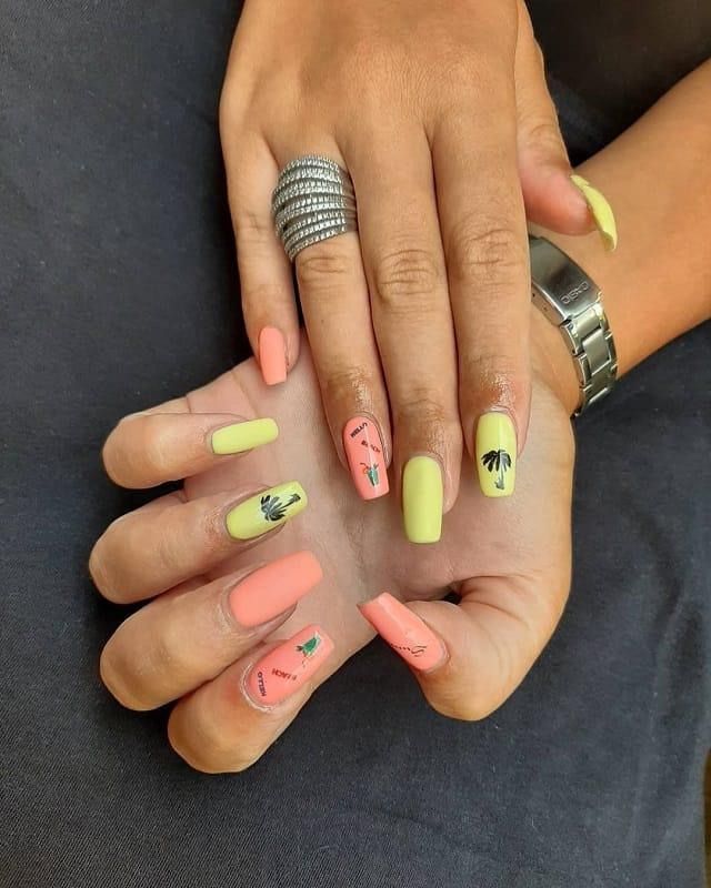 peach and green nail design