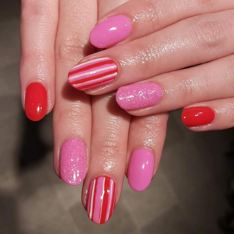 pink and red christmas nail