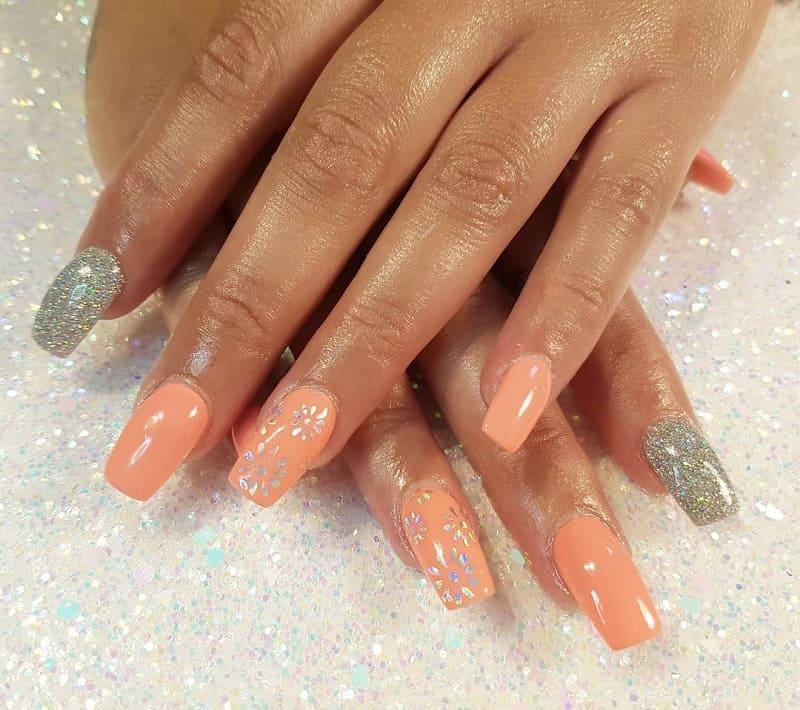 peach and silver nail designs