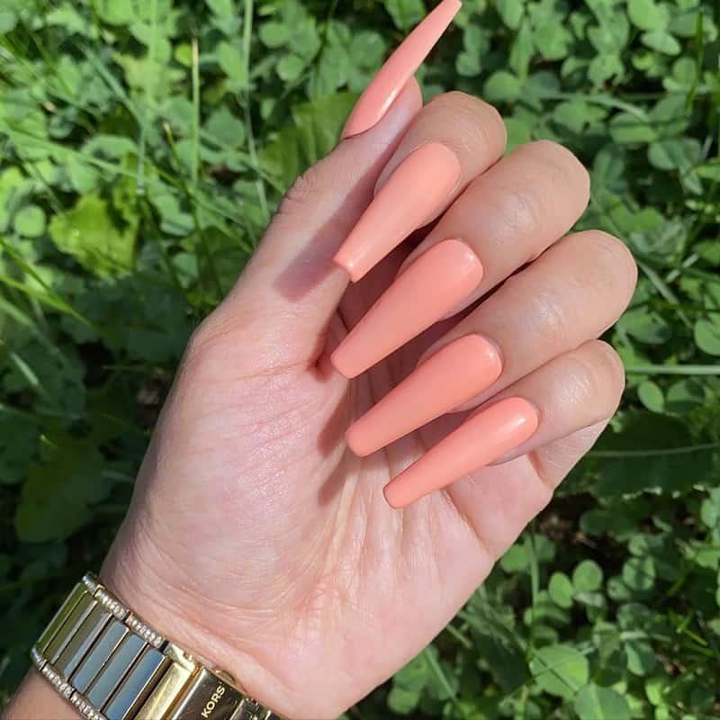 bright peach nails
