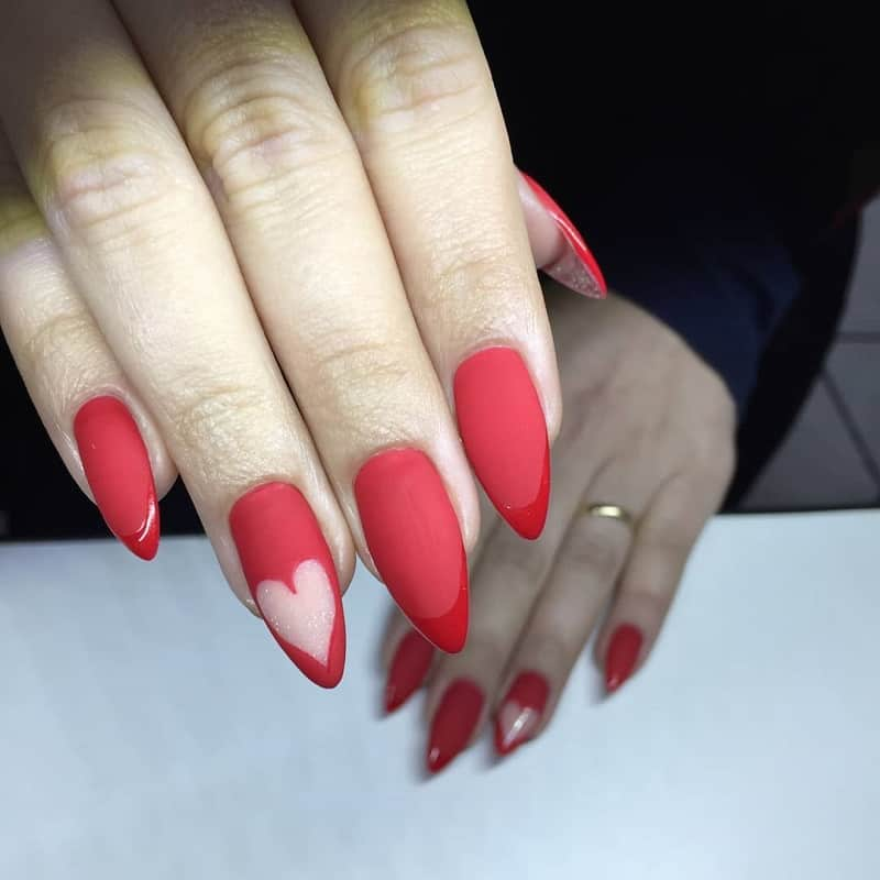 red heart nail design