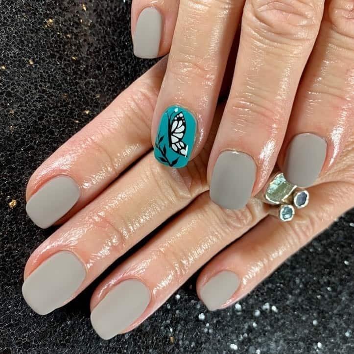 gray and teal nail designs