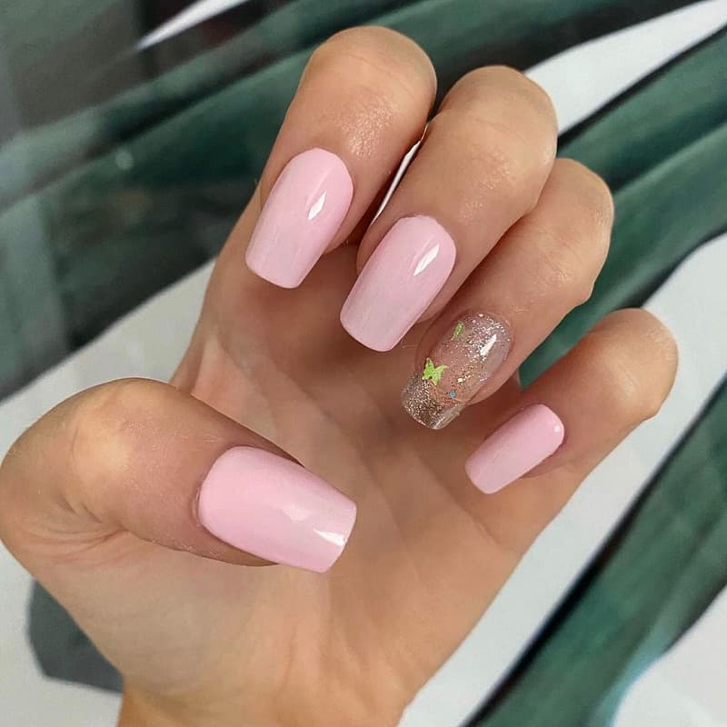 opaque baby pink nails