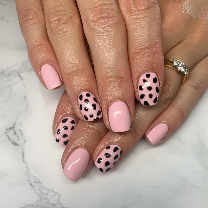 baby pink and black nails