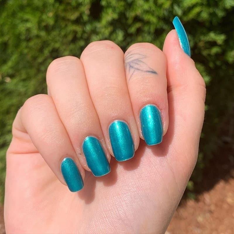 teal fake nails