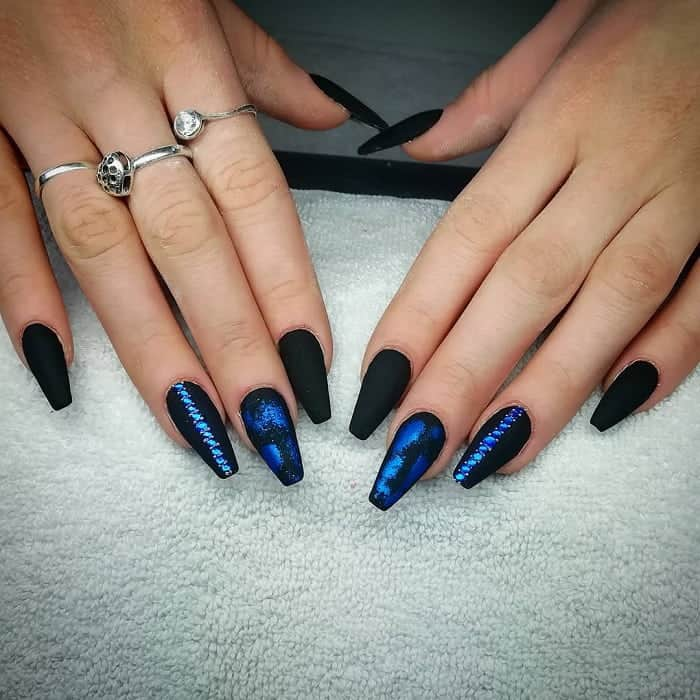 Black And Blue Coffin Nails