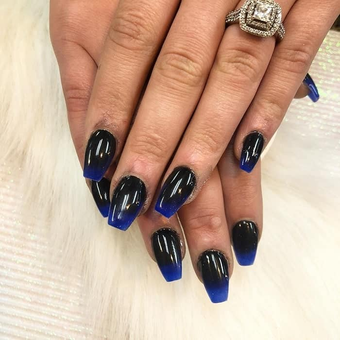 Black to Blue Ombre Nails