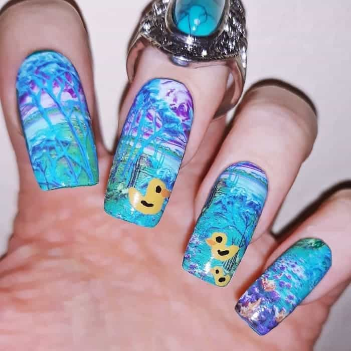 colorful acrylic nail design