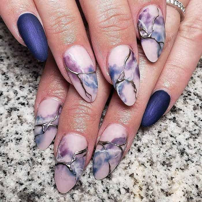 colorful marble nails