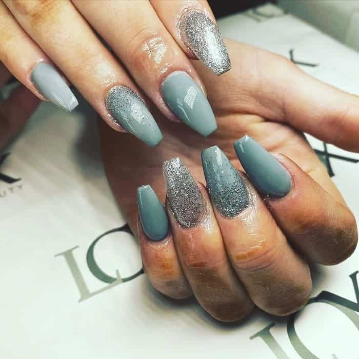 grey and silver nails