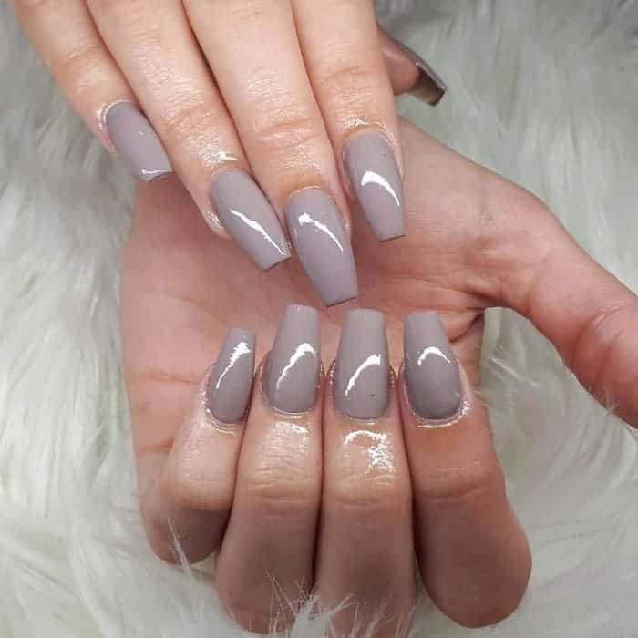 grey coffin nail design