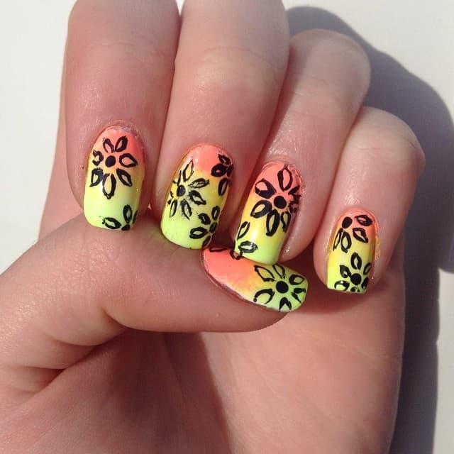 neon flower nails