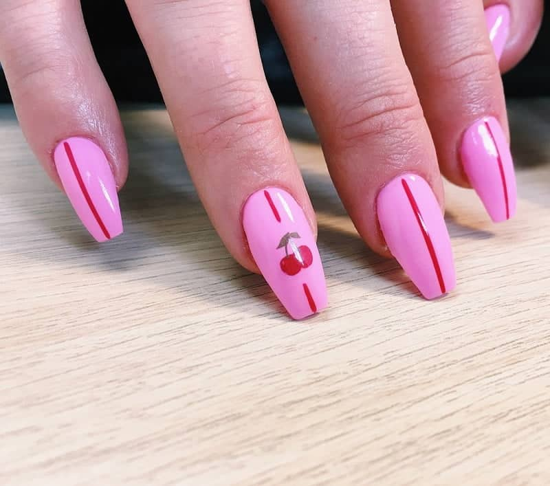 pink and red coffin nails