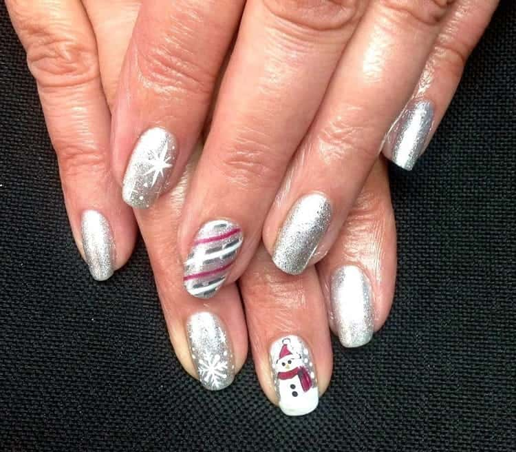 silver nails for christmas