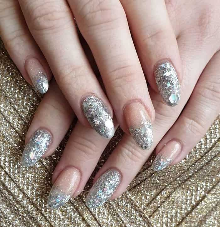 sparkly silver nails