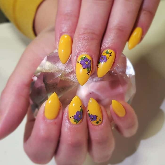 yellow floral nail design