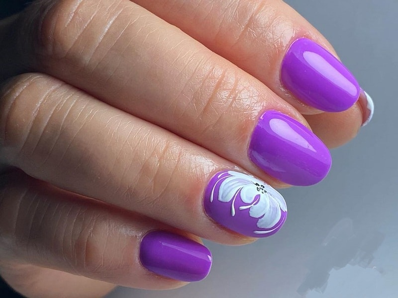 acrylic short round purple nails