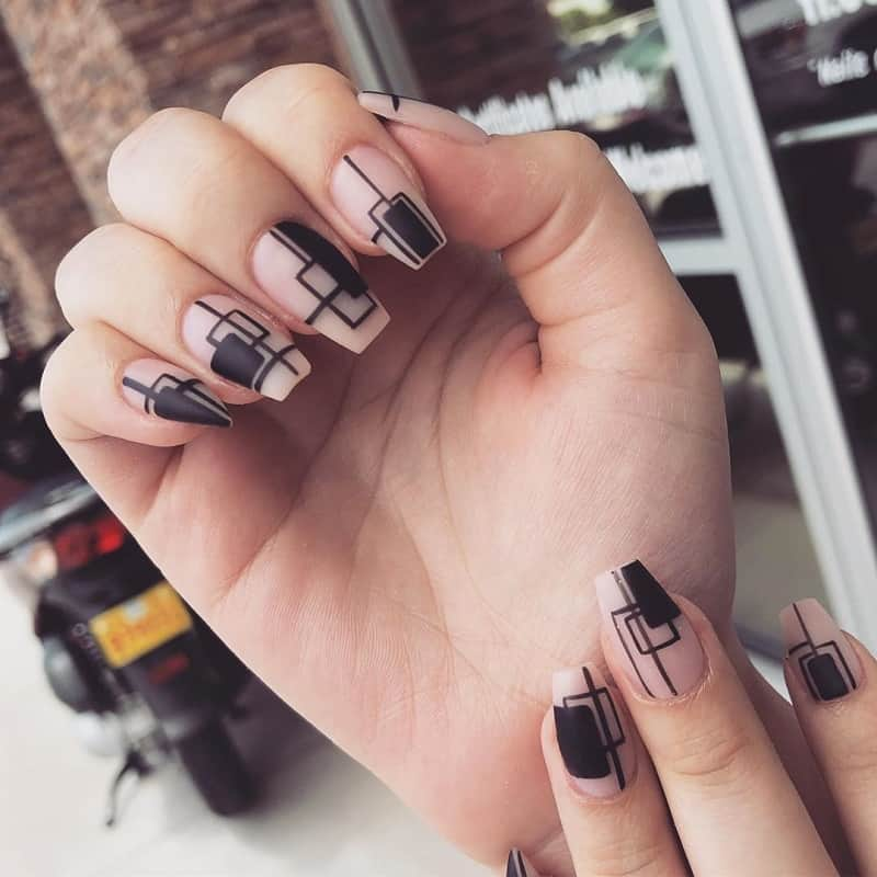 geomatric matte clear nails designs