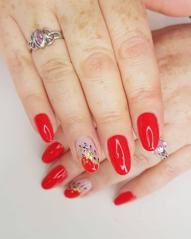round acrylic red nails