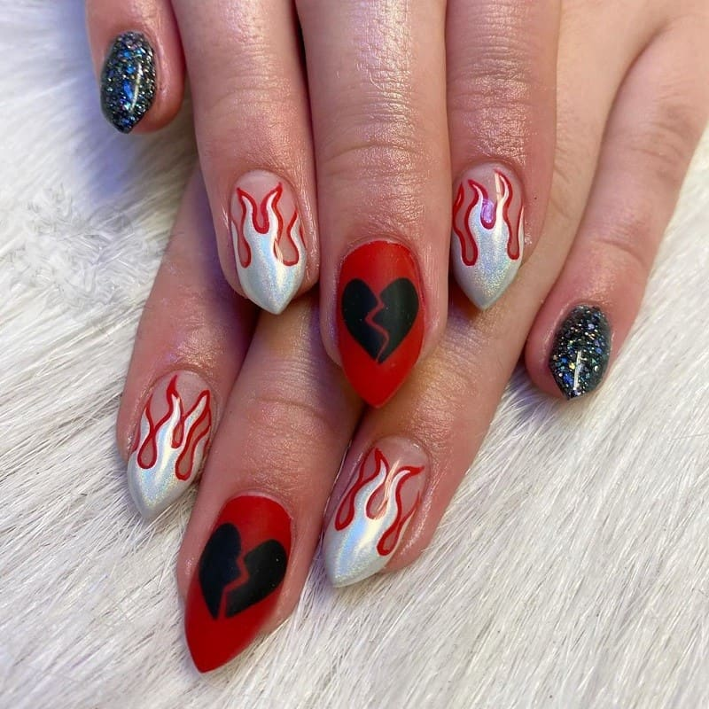broken heart nail design