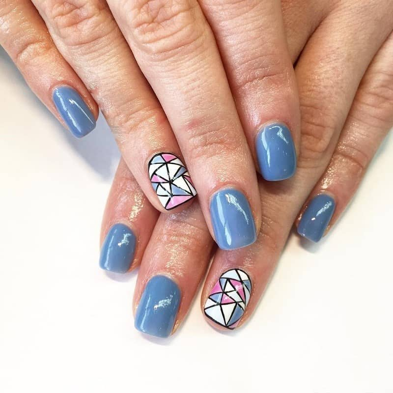 hand painted geomatric nails design