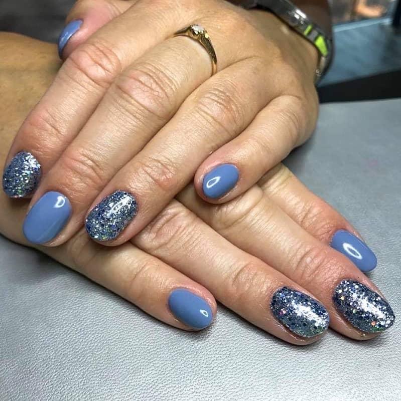 round acrylic glitter nails