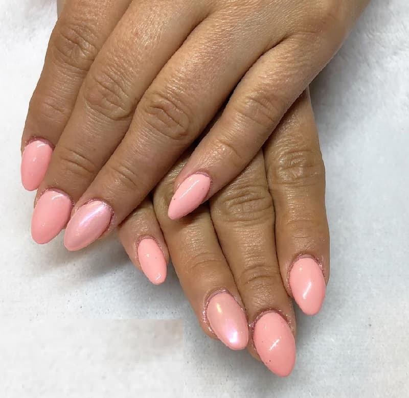 short millenial pink acrylic almond nails