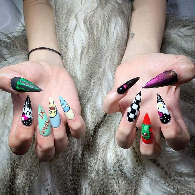emo scene nails