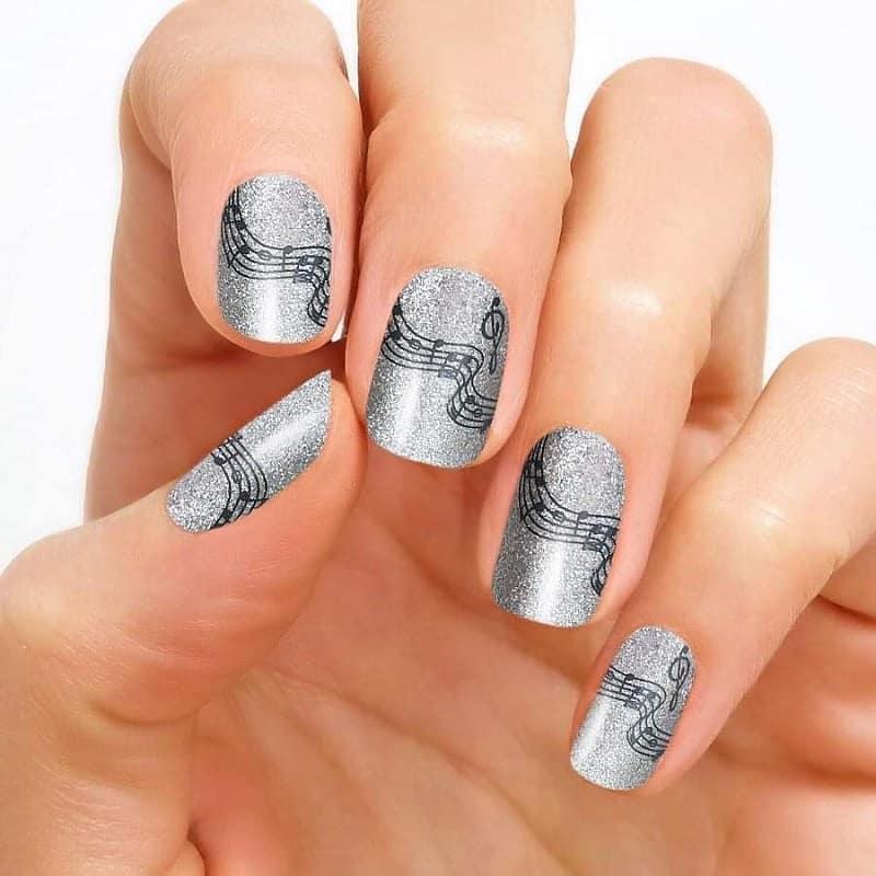 music note fake nails
