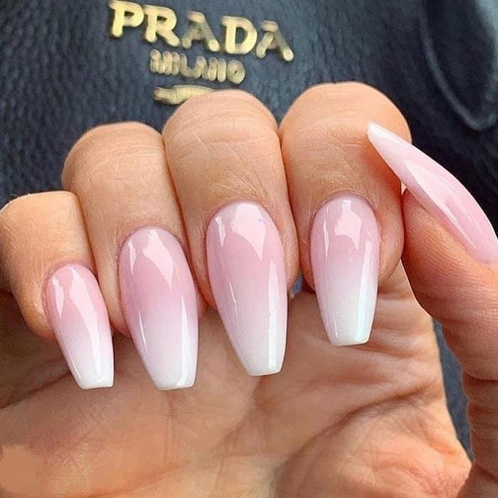 baby pink fade nails