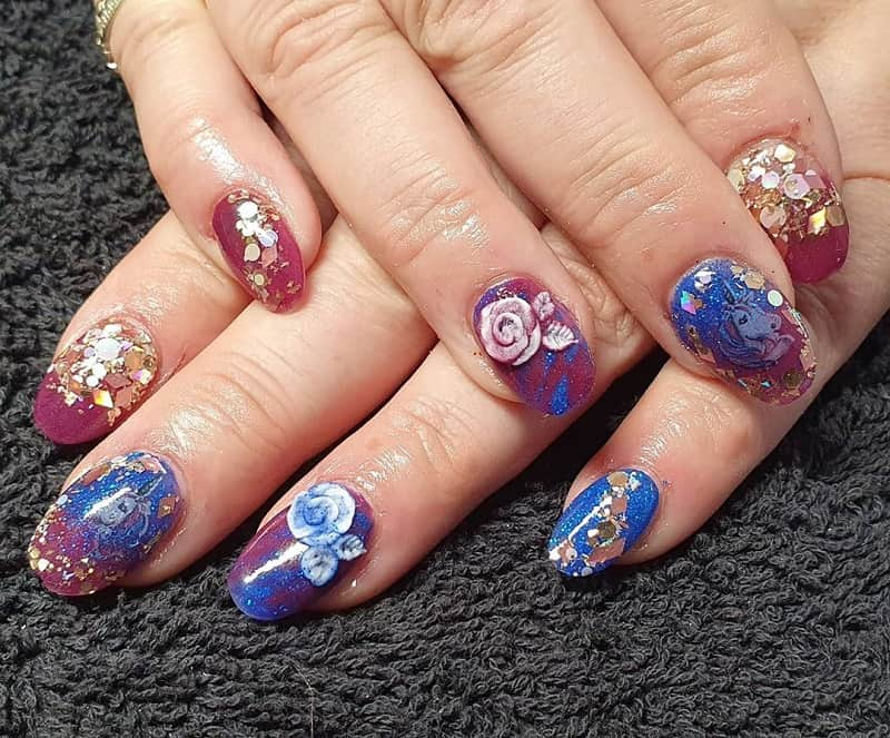 burgundy and blue nails designs