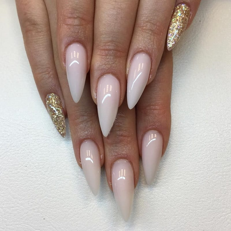 rose gold nude stiletto nails