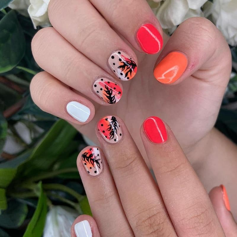 short rounded summer acrylic nails