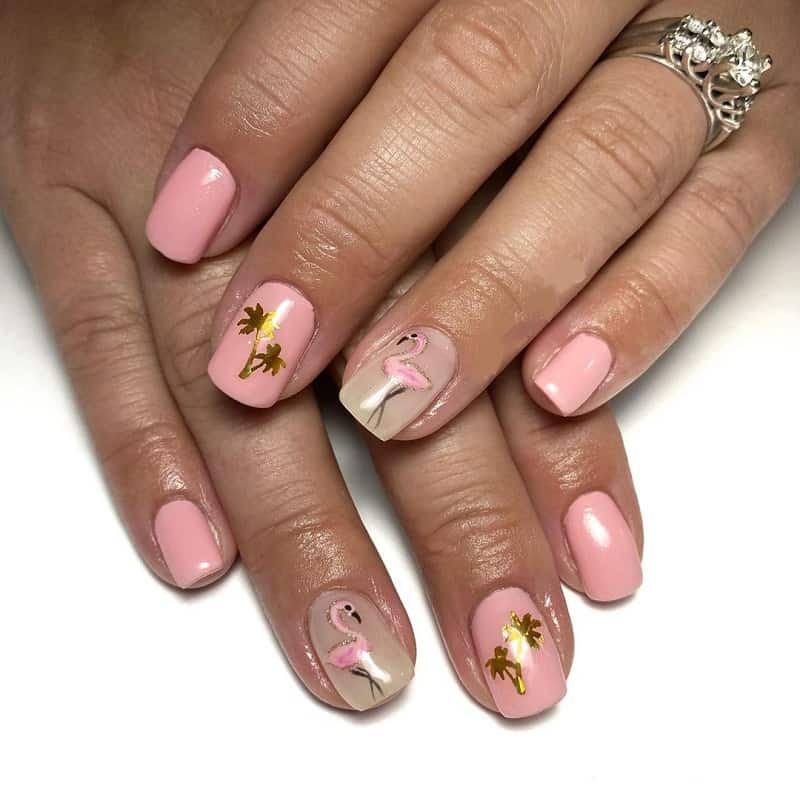 baby pink and gold nails