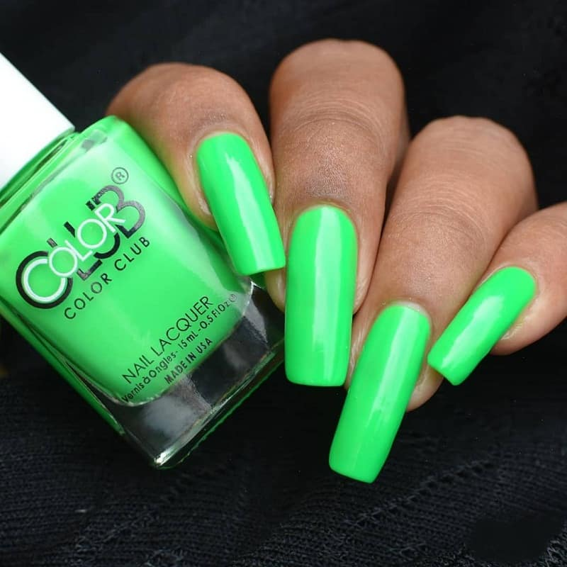long square green nail design