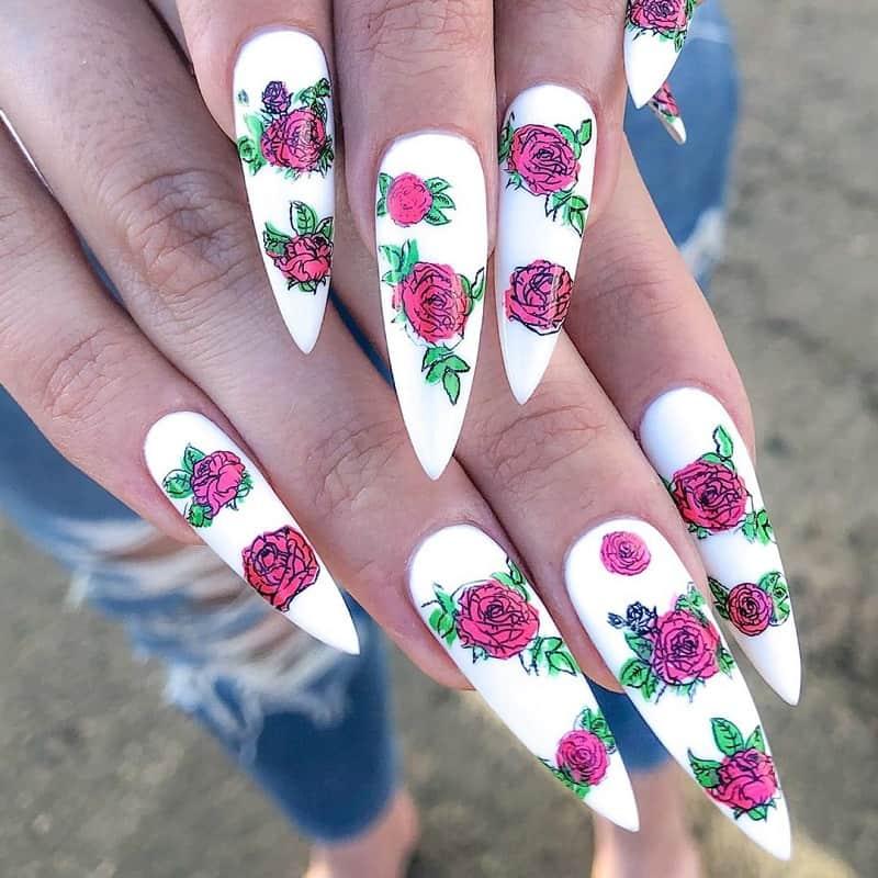rose white nail art