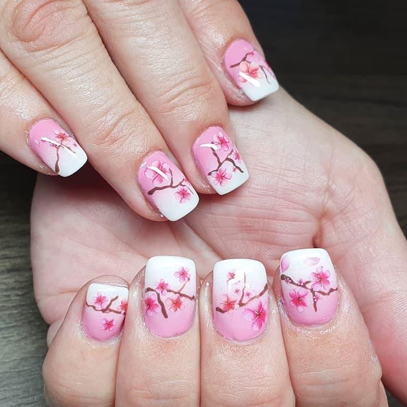 chinese cherry blossom nail