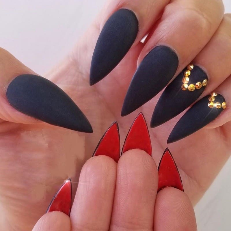 matte stiletto black nails with rhinestones