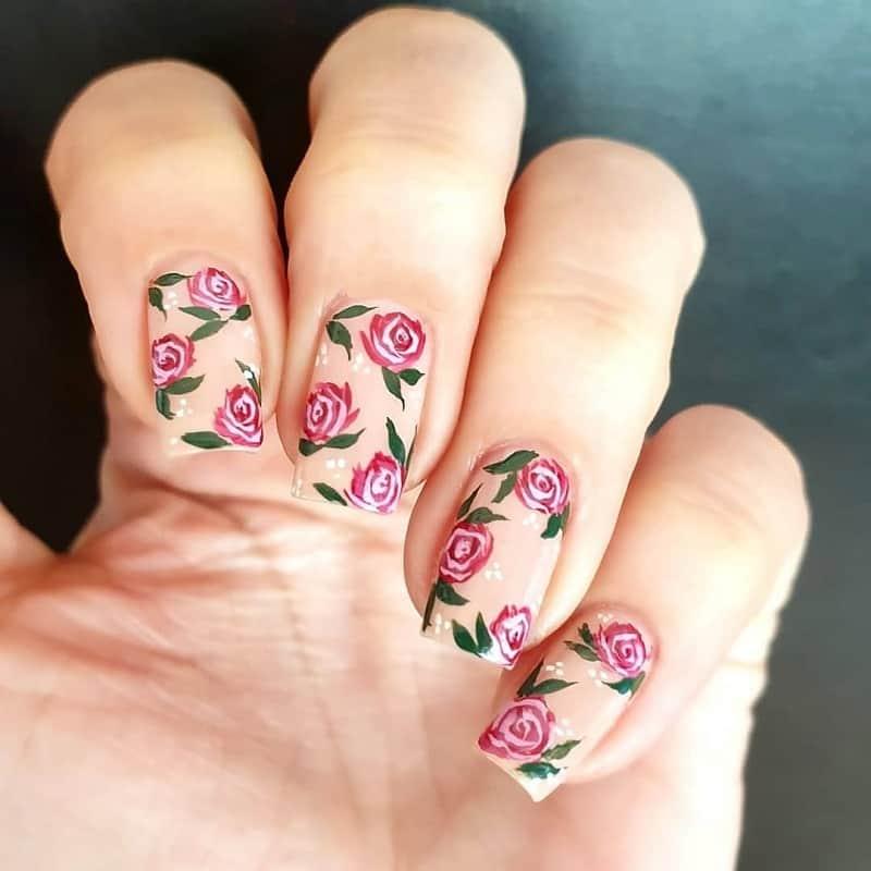 vintage rose nail art